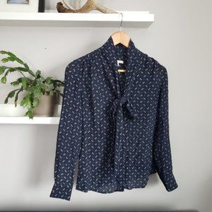 Banana Republic Navy Silk Blouse w/ Tie Neck 2